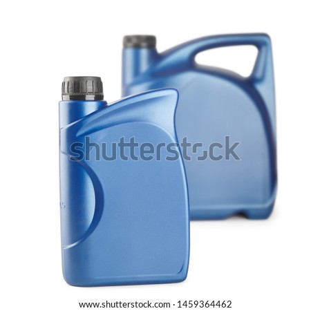 blue plastic canister for lubricants without label, container for chemicals isolated on white #1459364462