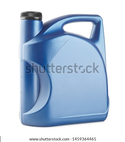 blue plastic canister for lubricants without label, container for chemicals isolated on white #1459364465