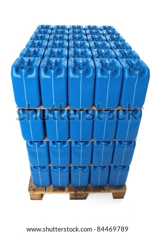 Blue plastic canister on wooden pallet