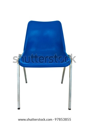 blue plastic chair on white background with clipping path