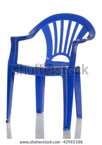 blue plastic child's chair with reflection on white background