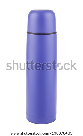 Blue plastic covered metal thermos isolated on a white background