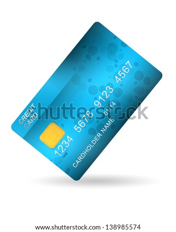 blue plastic credit card isolated on white background