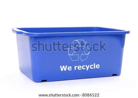 Blue plastic disposal bin with white recycle symbol - over white background