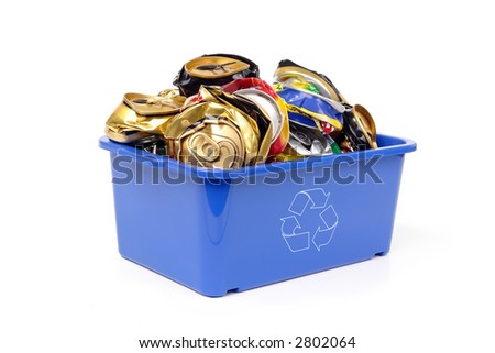 Blue plastic garbage bin with white recycle symbol full of empty pressed beer cans - over white background