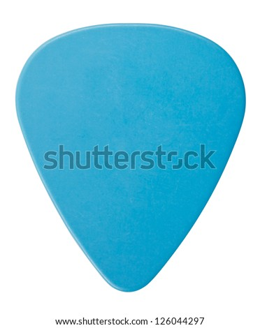 blue plastic guitar plectrum, isolated on white