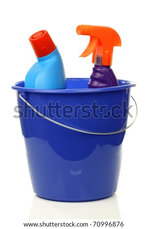 blue plastic household bucket with two cleaning bottles on a white background