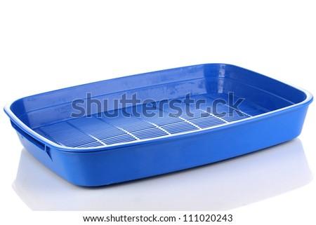 Blue plastic litter cat isolated on white - stock photo