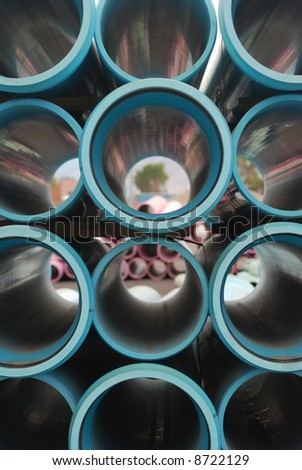 Blue Plastic Pipes - stock photo