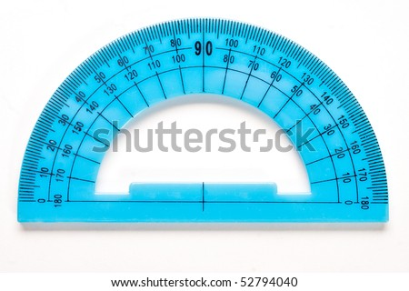 Blue plastic protractor isolated on white background