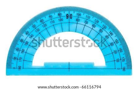Blue plastic protractor isolated on white background - stock photo