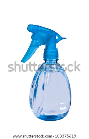 Blue plastic spray bottle isolated on white background