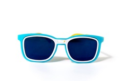 Blue plastic sunglasses isolated on a white background