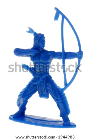 blue plastic toy indian shooting an arrow