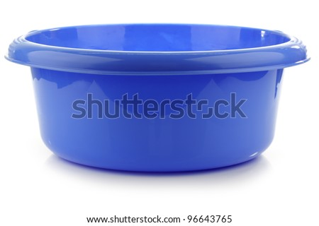 blue plastic wash bowl on a white background