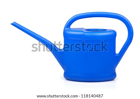 Blue plastic watering can on white