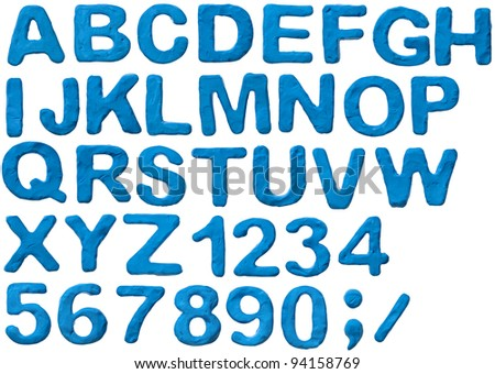 Blue plasticine alphabet with numbers, isolated.