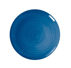 blue plate on white background. top view
