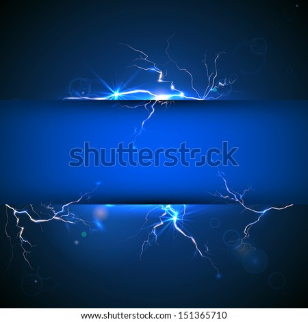 Blue plate under voltage, the discharge current. Raster version.  - stock photo