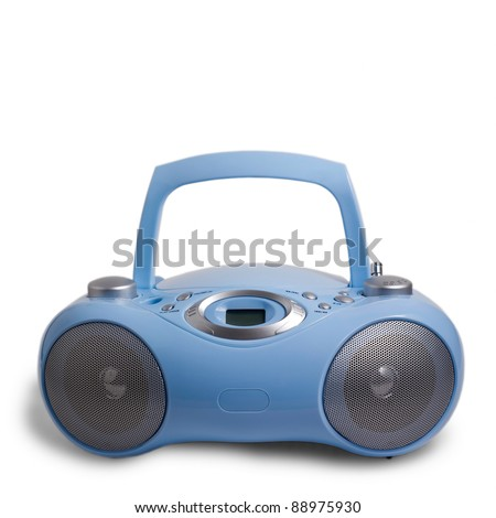 blue player portable stereo CD mp3 radio cassette recorder isolated on white