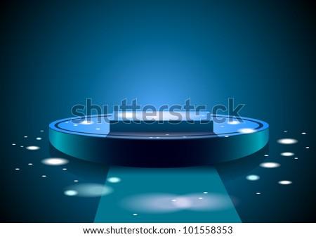 Blue podium illustration