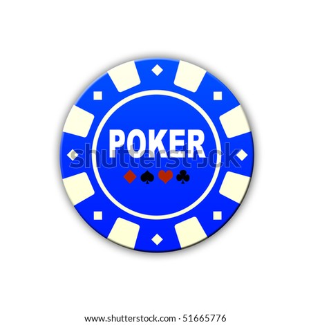 blue poker chip isolated on white