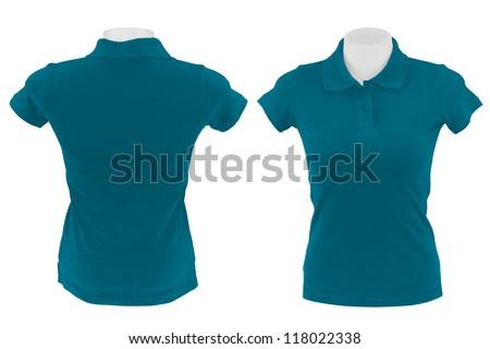 blue polo shirt on white background