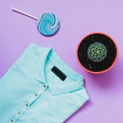 blue polo t-shirt, lollipop and cactus on serenity background