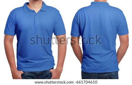 Shutterstock Blue polo t-shirt mock up, front and back view, isolated. Male model wear plain blue shirt mockup. Polo shirt design template. Blank tees for print