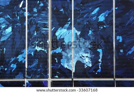 Blue polycrystalline solar panel