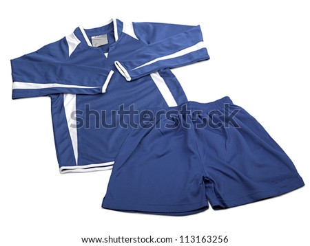 Blue polyester nylon soccer sportswear shorts and sweet shirt isolated on white ( clipping path )