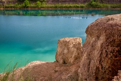Blue pond hidden landmark for travel photo in kamphaeng phet thailand and mirror of water