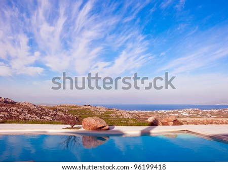 Blue Pool on a background of sky with clouds and sea in Greece...