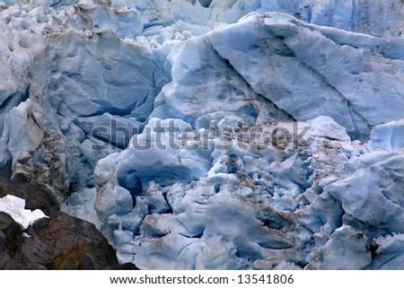 Blue Portages Glacier with Colored Rock Close Up, Anchorage, Alaska