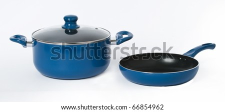 Blue pot an frying pan on a seamless white background