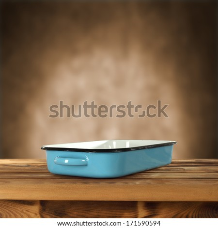blue pot and brown interior for text