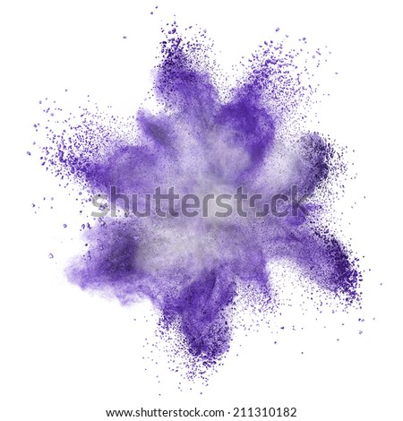 Blue powder explosion isolated on white background - Shutterstock ID 211310182