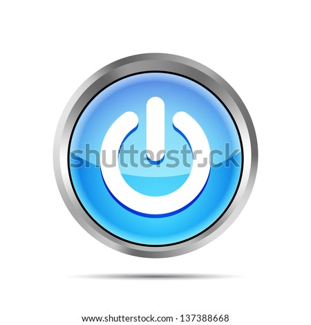 blue power button icon on ta white background #137388668