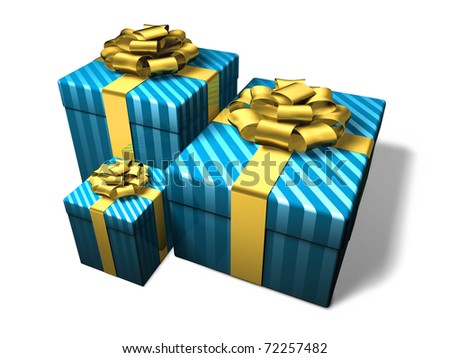 Blue present box decorated golden ribbon and bow.  Clipping path included.