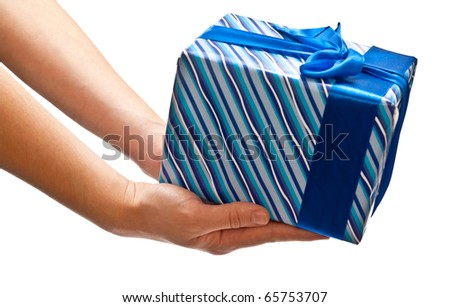 Blue present in man's hands. Isolated on white - stock photo