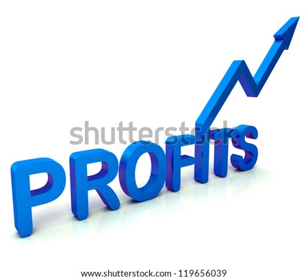 Blue Profit Word Showing Income Earned From Business, Success,