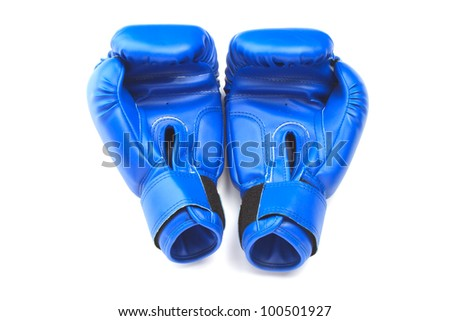 Blue protective boxing gloves on white background