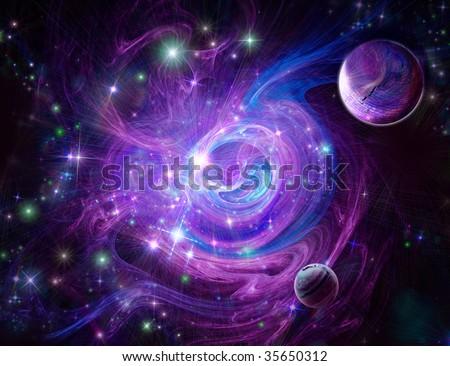 Blue-purple nebula, wonderful deep space