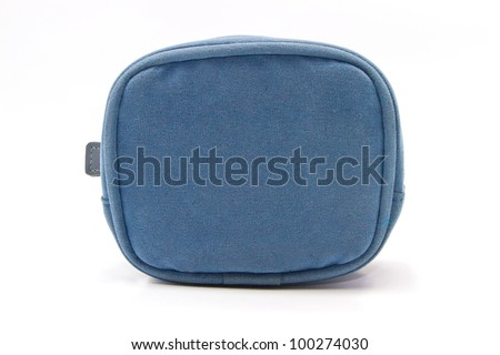 blue purse fabric on white background
