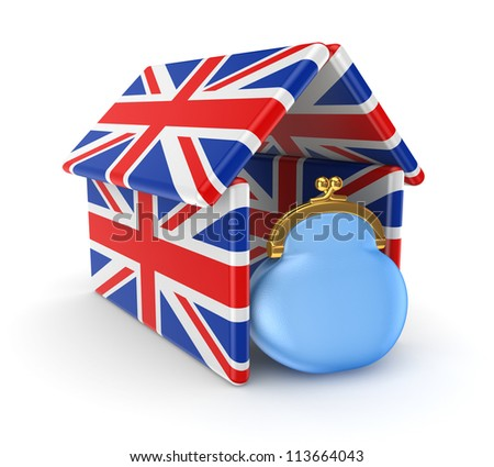 Blue purse under the roof made of british flags.Isolated on white background.3d rendered.
