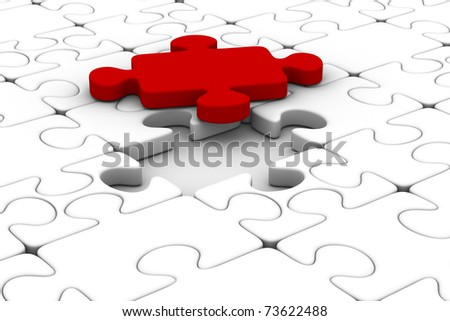Blue puzzle and one red. Isolated 3D image
