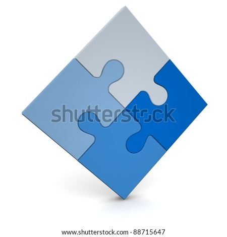 Blue puzzle. It may be logo.