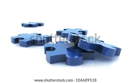 blue puzzle on white background