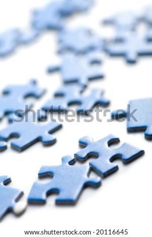 blue puzzle pieces isolated