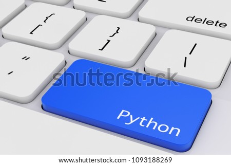 Blue Python Key on White PC Keyboard extreme closeup. 3d Rendering